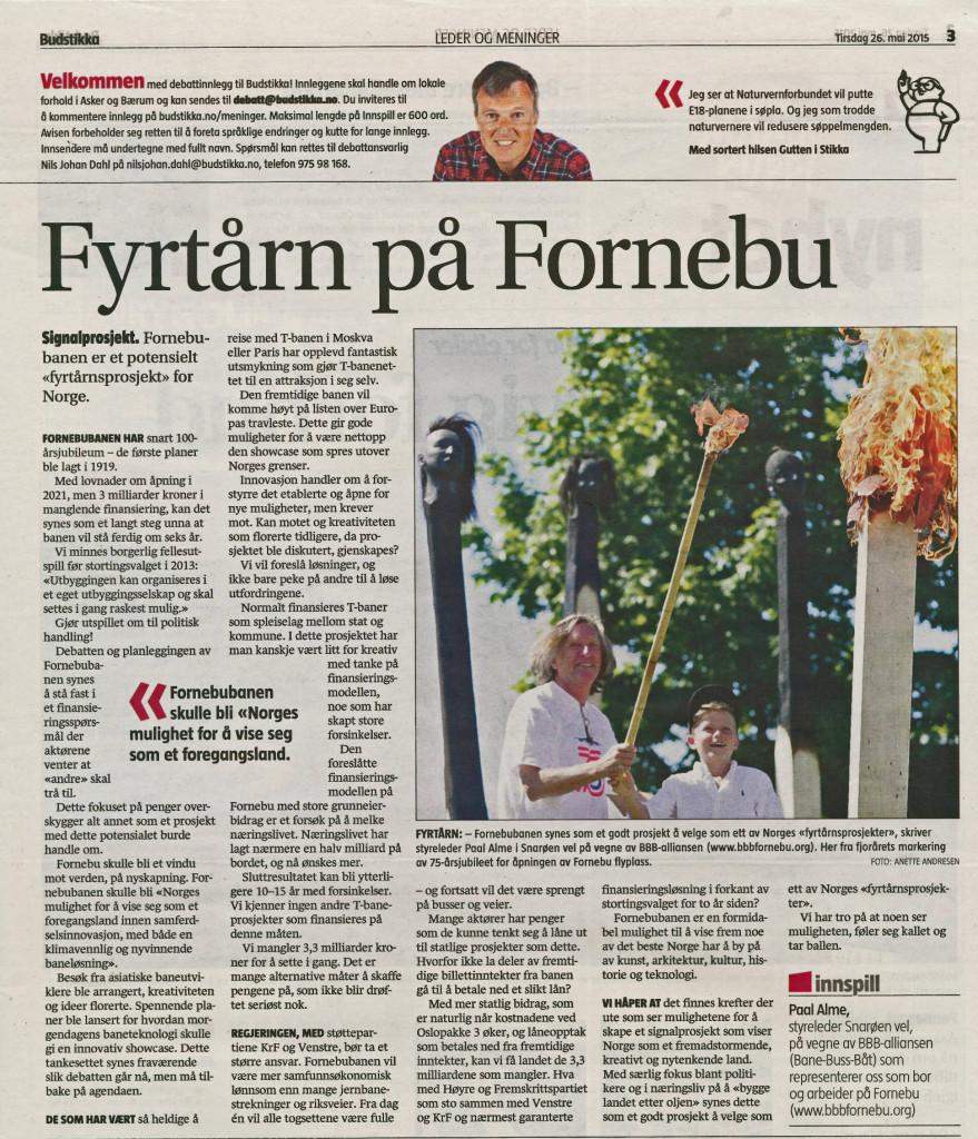 Debattinnlegg i Budstikka 26. mai 2015
