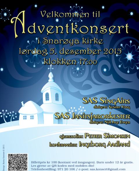 Adventkonsert 5. desember 2015 Snarøya kirke - Plakat