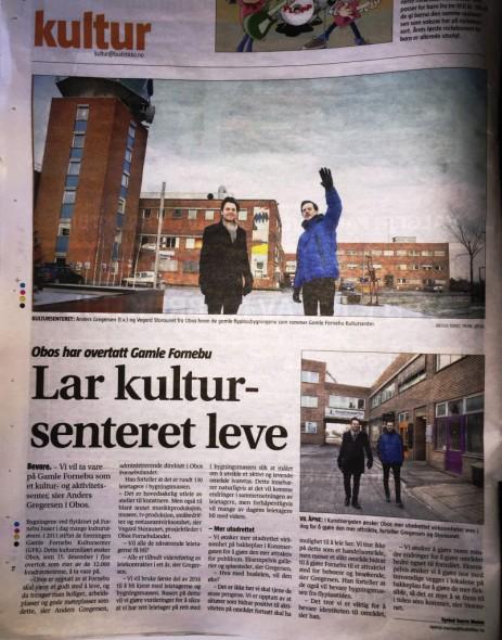 Budstikka slår stort opp, at vi nå har fått bekreftelse på at Gamle Fornebu Kultursenter er en realitet